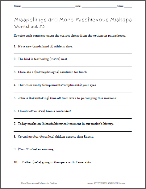 Misspellings and More Mischievous Mishaps ELA Worksheet #3 | School ...