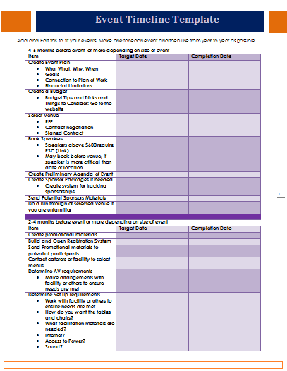 Event Timeline Template Event Template Event Planning