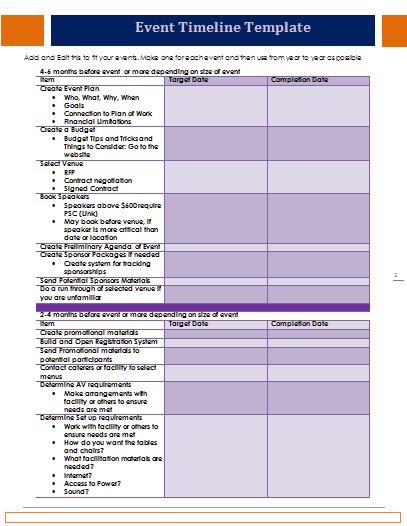 event timeline template planning