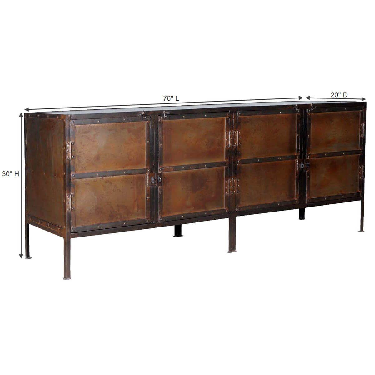 Industrial Black And Brown Iron 76 4 Door Large Buffet Cabinet Sideboard Cabinet Large Sideboard Cabinet Large Sideboard