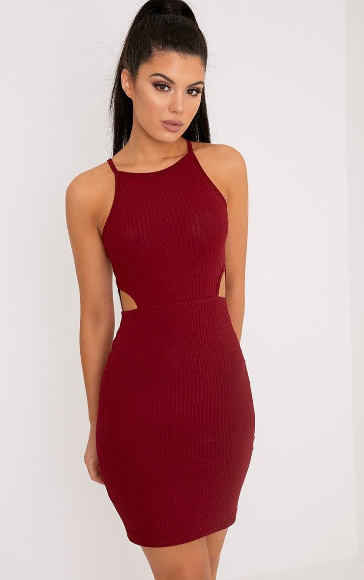 7aa6e434af83 Mireille Burgundy Ribbed Cut Out Bodycon Dress in 2019 ...