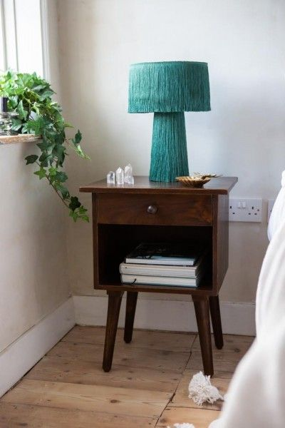 Wood And Metal Bedside Table: Bureau-Style Black Mango Wood Bedside Table In 2020