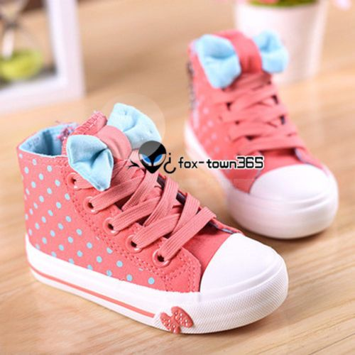 Spring-Child-Boys-Kids-Girls-Baby-Polka-Rubber-Dot-Bow-Knot-High-Canvas-Shoes