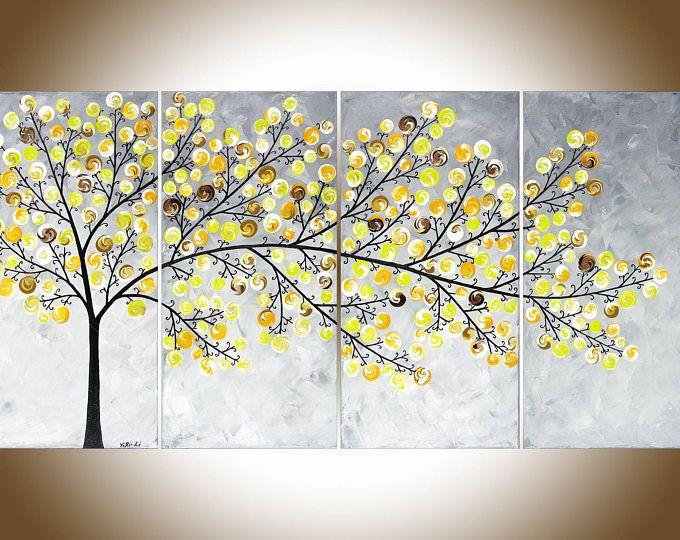 Yellow grey painting large wall art Modern art impasto canvas art ...