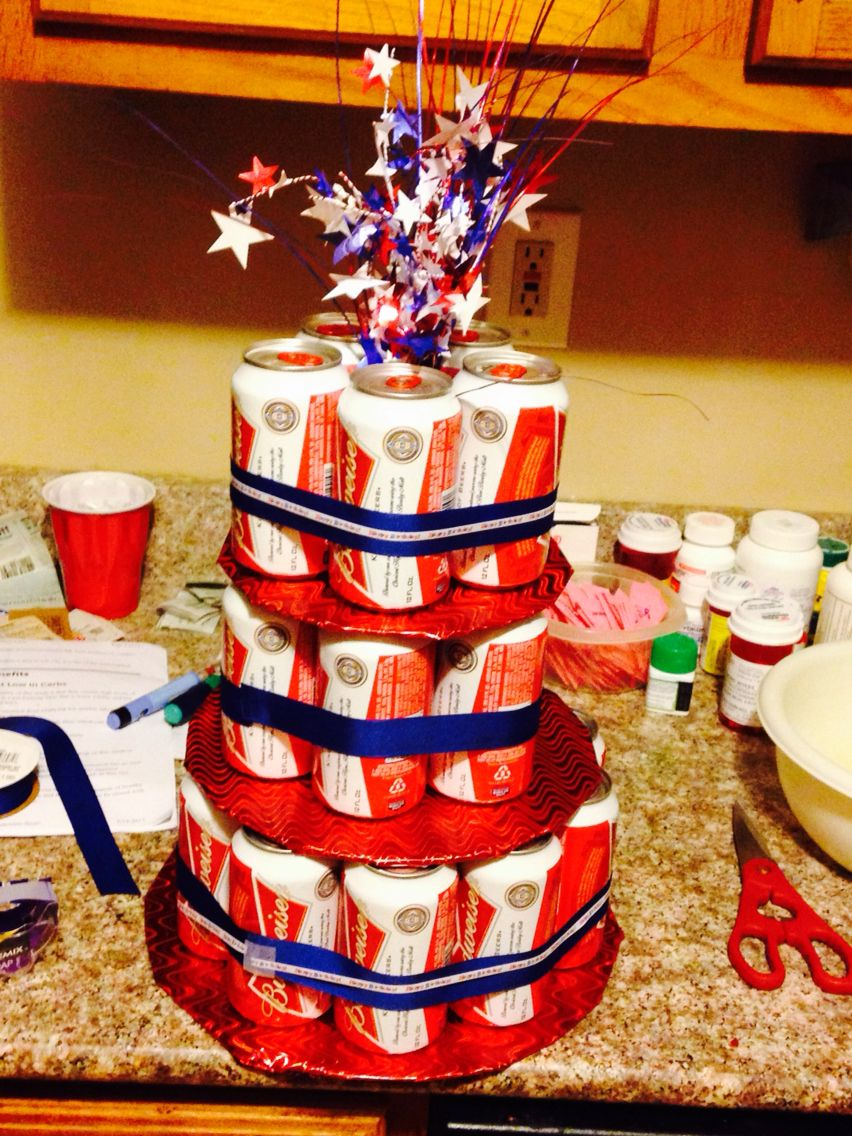 Budweiser beer can cake .