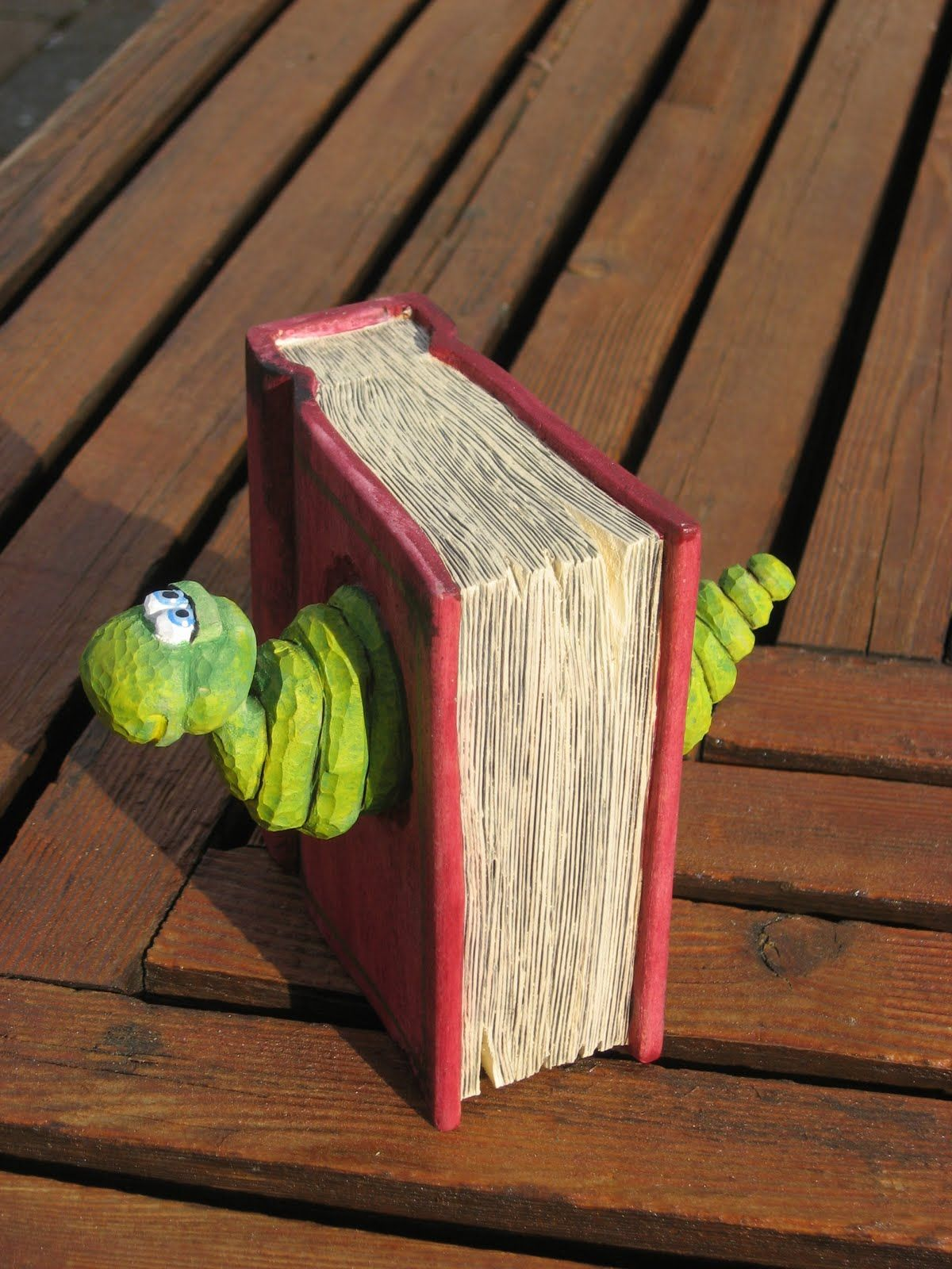 Bookworm wood carving - a birthday gift | Fred Ainge ...