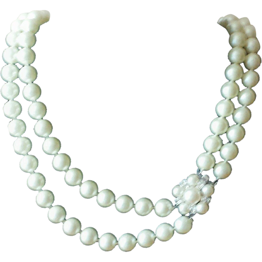 Vintage 1950s Marvella Double Strand White Faux Pearl Necklace With Decorative Rhinestone Clasp At Whimsicalvinta Faux Pearl Necklace Faux Pearl Bridal Jewelry