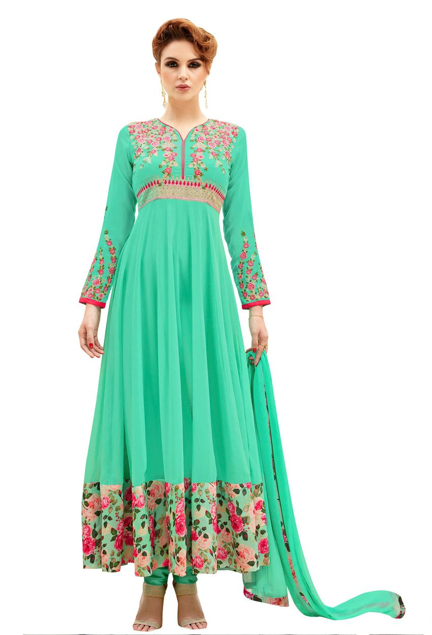 Semi stitched sea green georgette long anarkali style suit