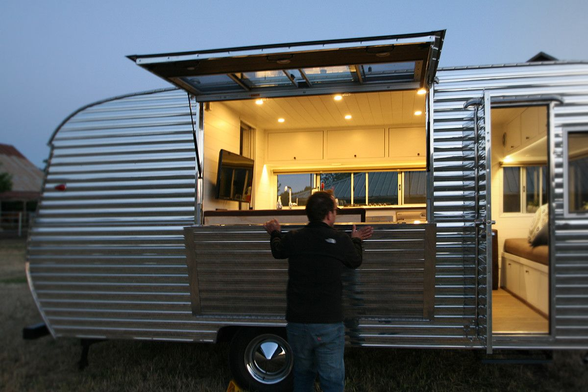 This Tiny Trailer Makes The World Its Living Room Tiny Trailers Modern Tiny House Living Room Photos