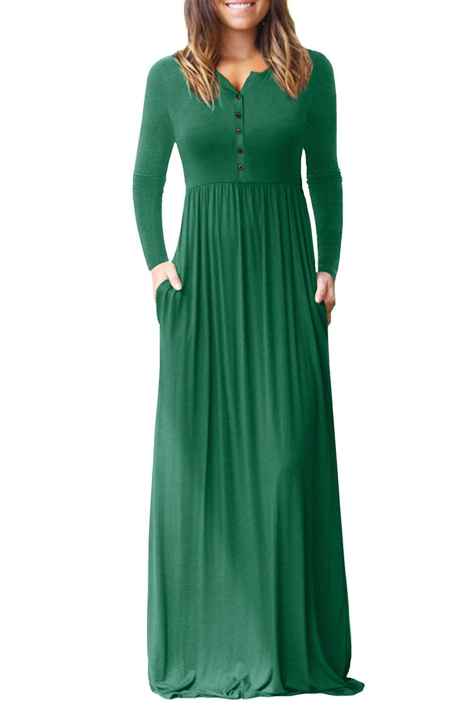 Hunter green long sleeve button down casual maxi dress best