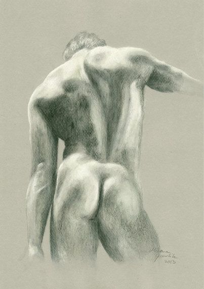 Naked guy pencil drawing — img 1