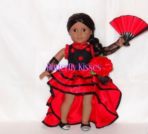 Josefina Birthday Dress: Flamenco Spanish Dress Fan Glove Clip Doll Clothes Fit
