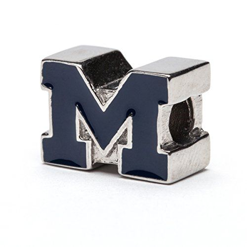 University of Michigan Ring Officially Licensed University of Michigan Jewelry Michigan Wolverines UM Jewelry UM Blue Block M with Crystals Stainless Steel Michigan Ring