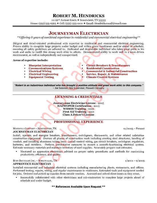 Journeyman Electrician Resume Sample Resumesdesign Sample Resume Cover Letter Cover Letter For Resume Resume Template Examples