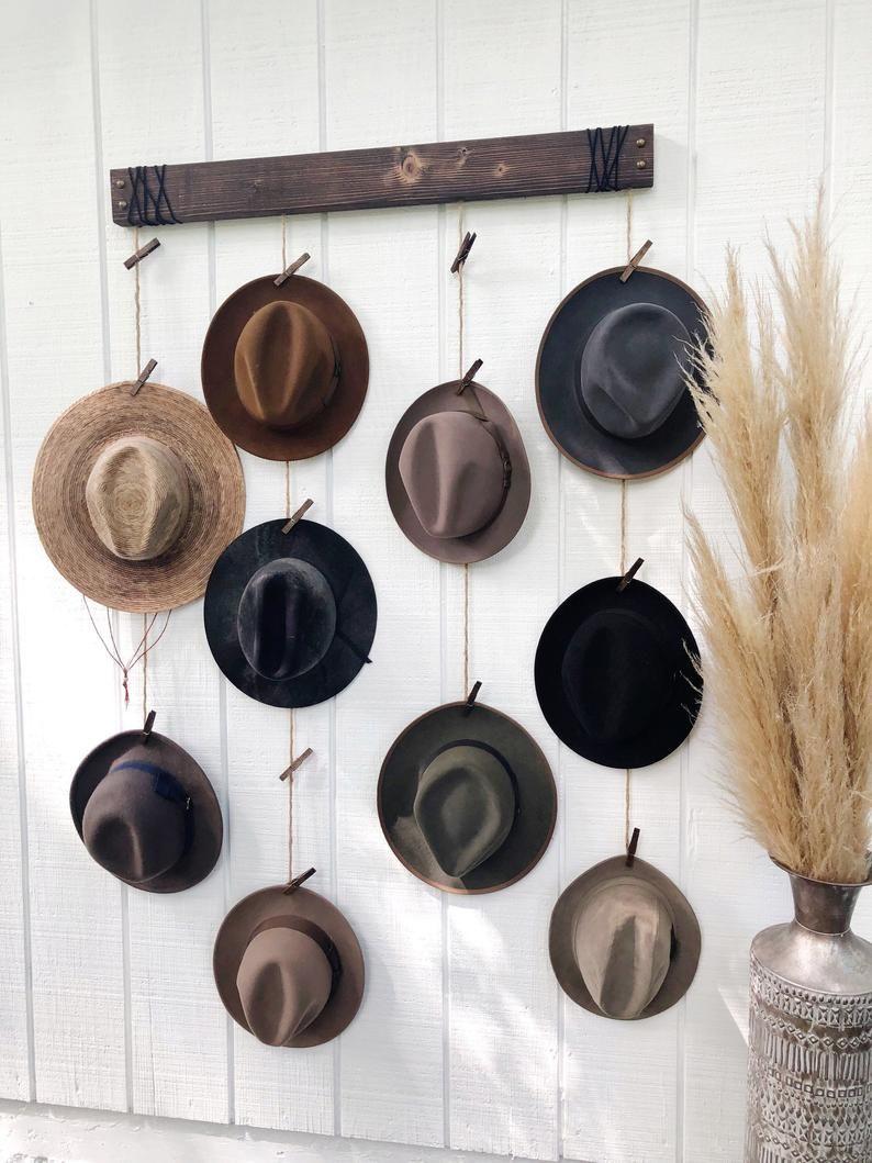 Hat Organizer Hat Wall Hanging Fedora Display Hat Rack Etsy In 2021 Hat Wall Hat Display Wall Hats