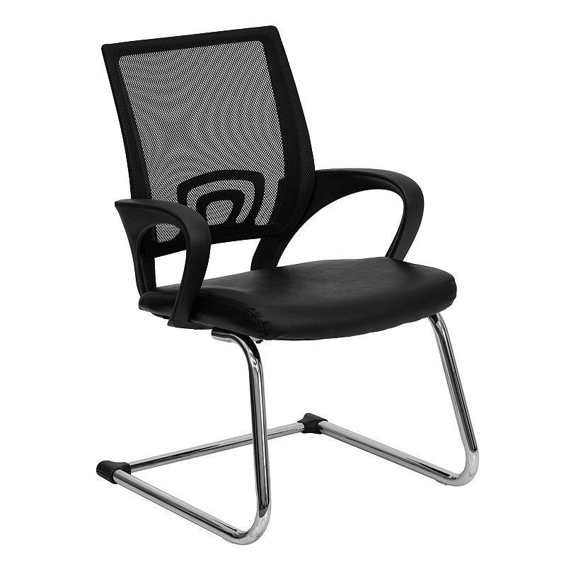 Strange Mesh Side Reception Chair With Leather Seat And Sled Base Pdpeps Interior Chair Design Pdpepsorg
