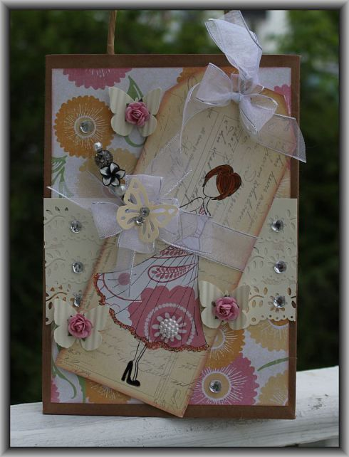 Prima Doll stamps on gift bag