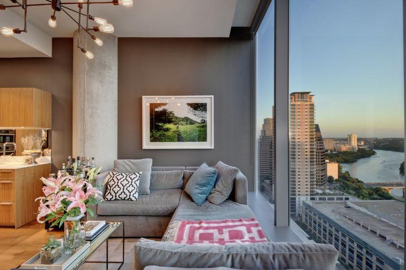 #wohnzimmer Wandgestaltung In Braun U2013 50 Wohnzimmer Wohnideen # Wandgestaltung #in #Braun #