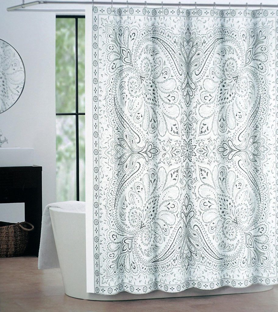 Grey And Blue Paisley Shower Curtain