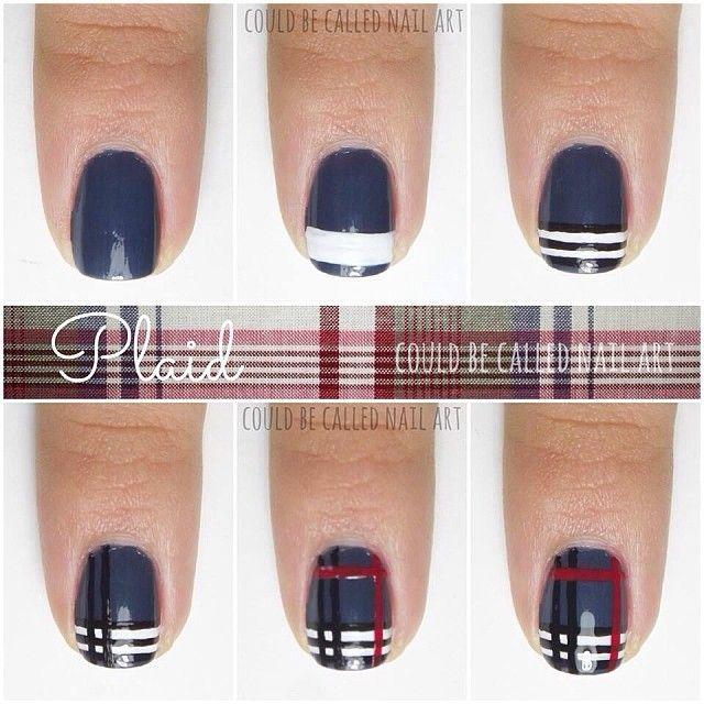 Easy And Cute Plaid Nail Art Tutorial Hope This Helps You Do Them Easily Plaid Nails Plaid Nail Art Diy Plaid Nails