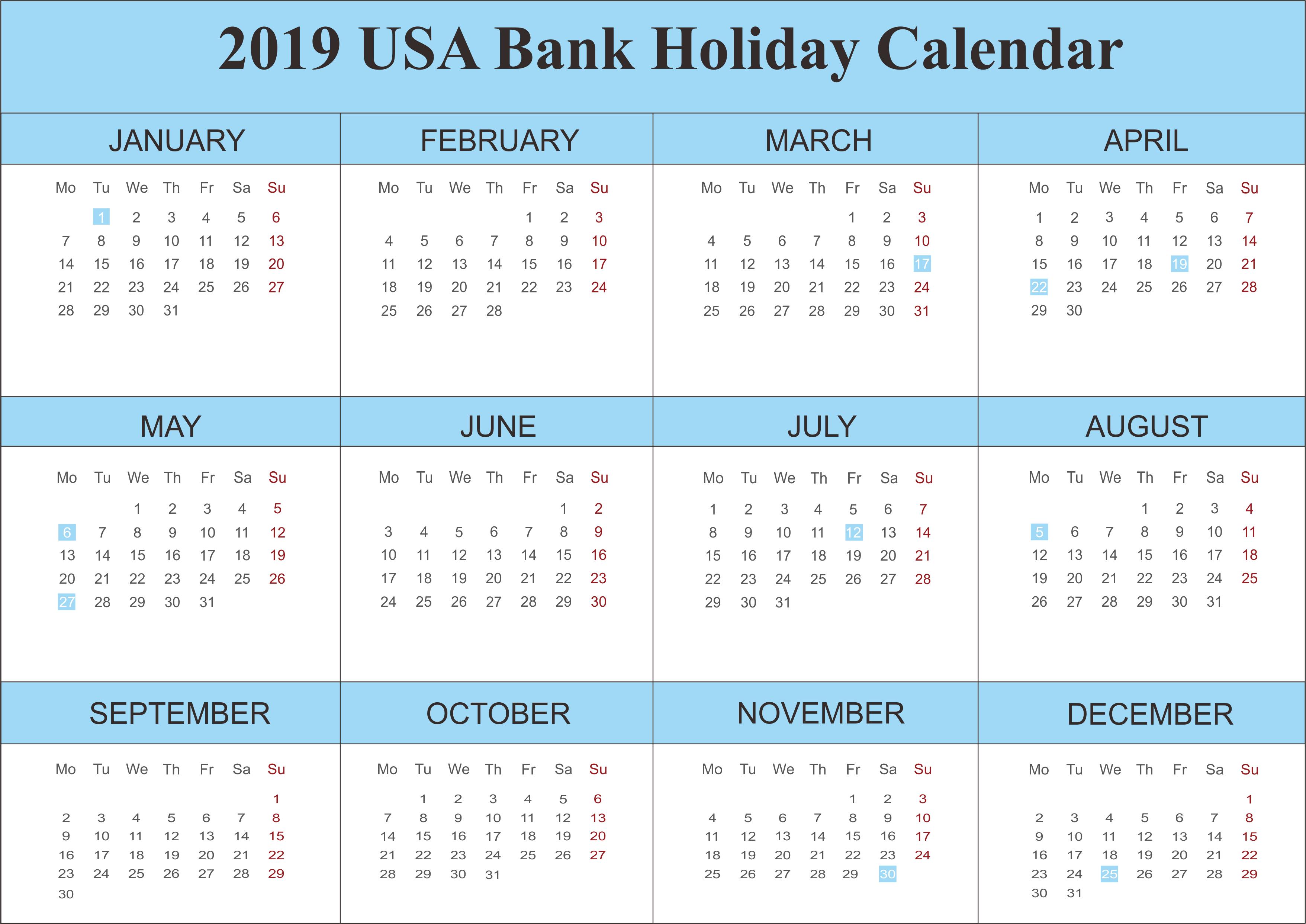 2019 USA Bank Holidays Calendar Holiday calendar