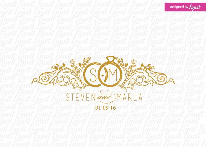 Vintage wedding monogram wedding logo wedding crest custom