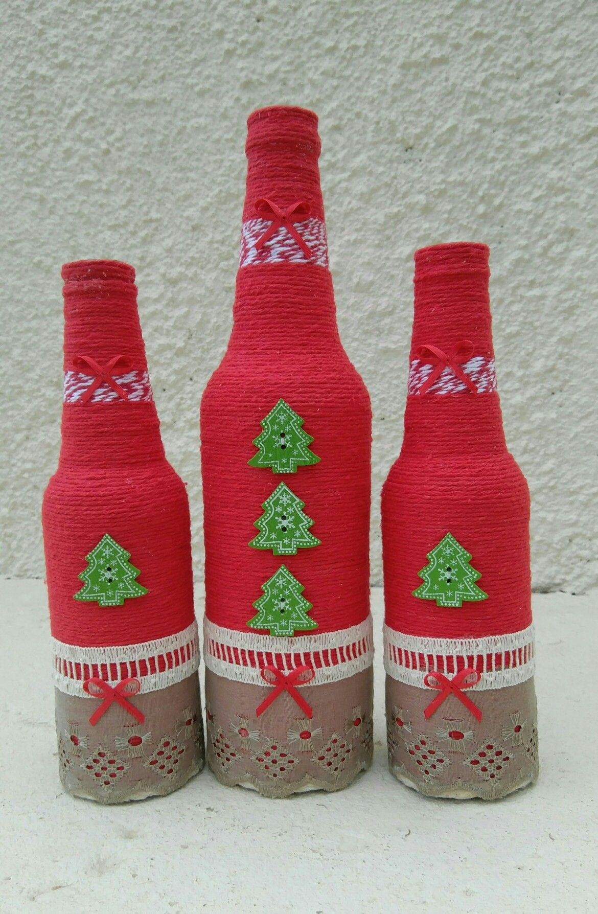 Botellas Decoradas Navideñas Pin De Xiomara Hernandez En Botellas Y Jarrones Botellas