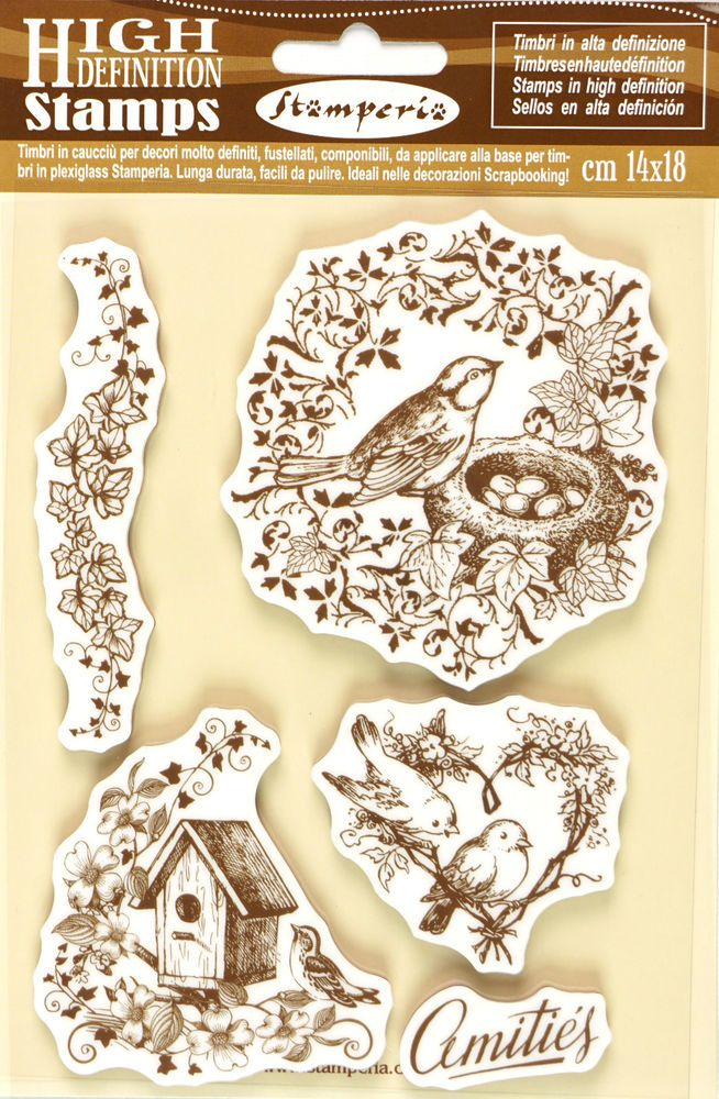 5 Stamperia High Definition Vintage Rubber Stamps Scrapbooking Craft DIY Birds