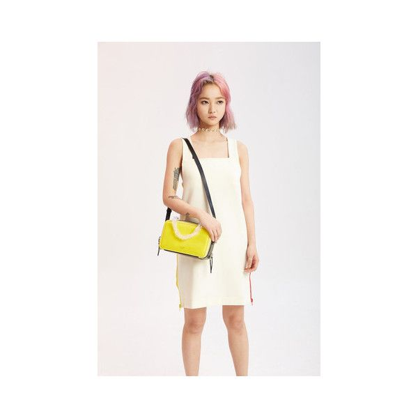 Yellow and Black Crossbody Mini Bag (610 BGN) ❤ liked on Polyvore featuring bags, handbags, shoulder bags, leather shoulder bag, mini cross body purse, leather crossbody handbags, leather purse and yellow leather purse