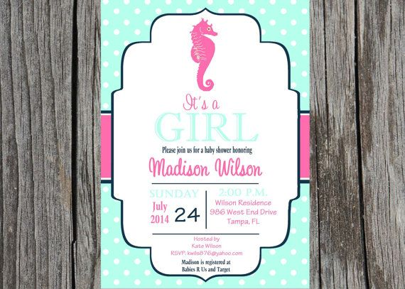 Result Seahorses Shower Invitations And Babies