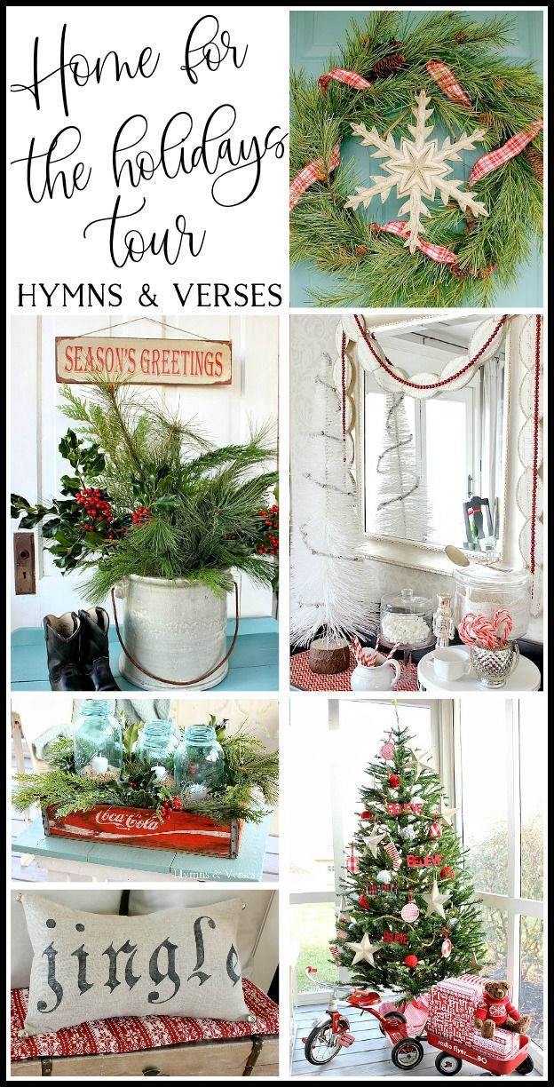 Home for the Holidays Christmas Tour featuring unique holiday decor from Hymns and Verses blog. Includes several easy Christmas DIY decor projects! #hymnsandverses #homefortheholidays #christmastour #christmashometour #cottagestyle #redandwhite #vintagestyle #christmasdecor #christmasdecorating #christmastree