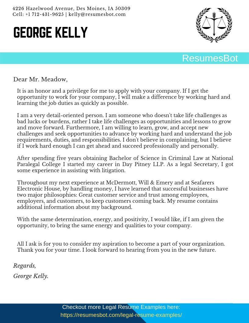 Legal Secretary Cover Letter Samples & Templates [PDF+Word