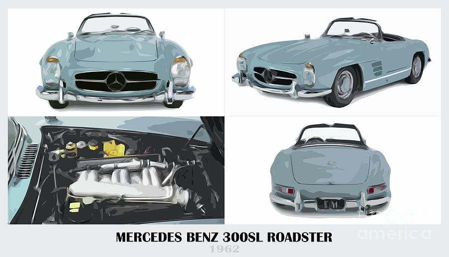 Mercedes Benz 300sl Roadster Blue Classic Car by Drawspots Illustrations