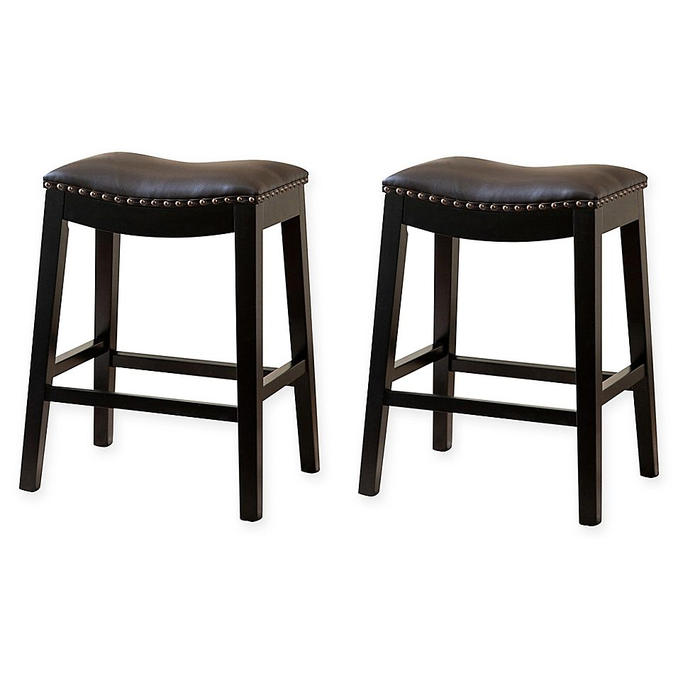 Abbyson Living Hudson Leather Bar Stools In Brown Set Of 2 Bar
