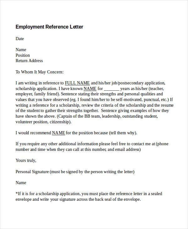 Free Reference Letter Sample Employment Reference Letter Templates Free Sample Example Format .