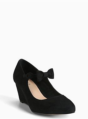 a32e340086a2 The black faux suede almond toe style gives you just a hint of lift off  with a mini wedge. The ankle strap ...