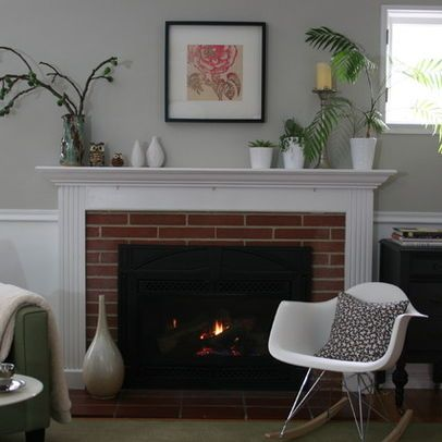 Red Brick Fireplace Chair Rail Molding Ideas Living Room