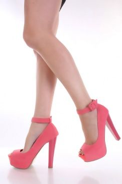 coral strappy pumps