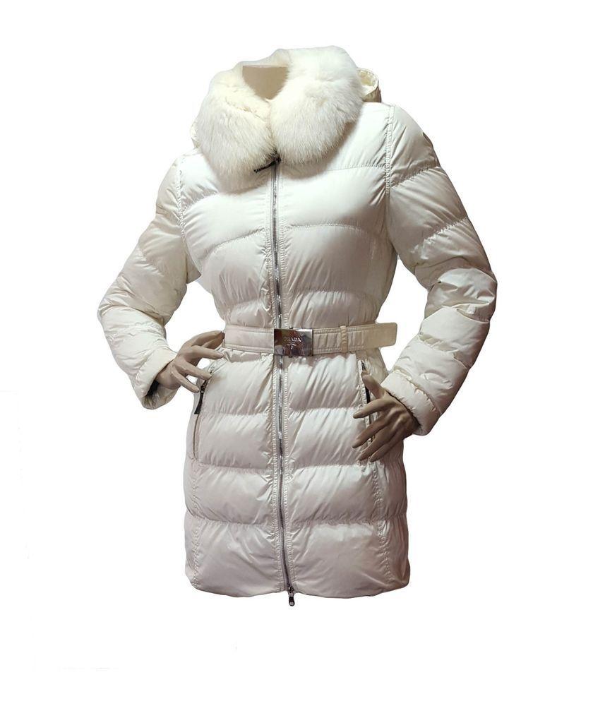 94bff23c1 $1580 PRADA MILANO Womens Cream Down Quilted Fox Fur Winter Jacket ...