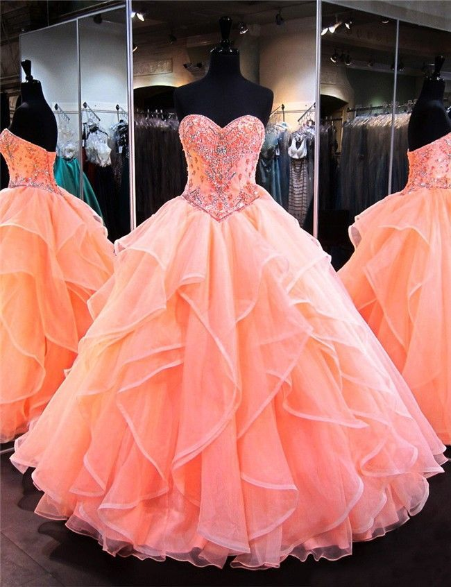 Poofy Prom Dresses - Puffy prom dresses, Ball dresses, Quincenera dresses, Prom dresses ball gown, Quince dresses, Gowns dresses - Ball Gown Sweetheart Coral Satin Organza Ruffle Puffy Quinceanera Prom Dress