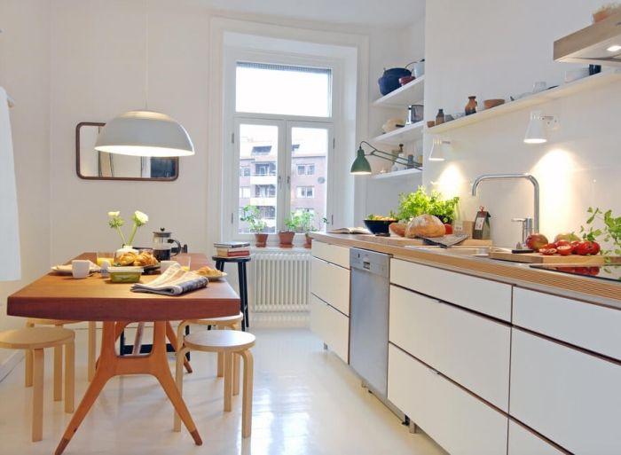 ▷ 1001 + modèles fascinants du duo cuisine blanche plan de travail bois
