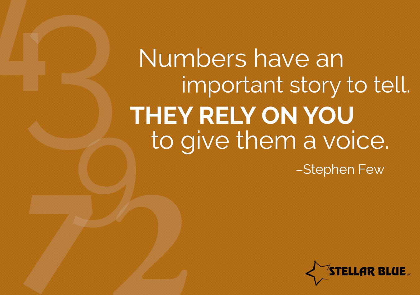 """""""Numbers have an important story to tell. They rely on you to give them a voice."""" – Stephen Few #StellarAnalytics http://ow.ly/SbsOn"""