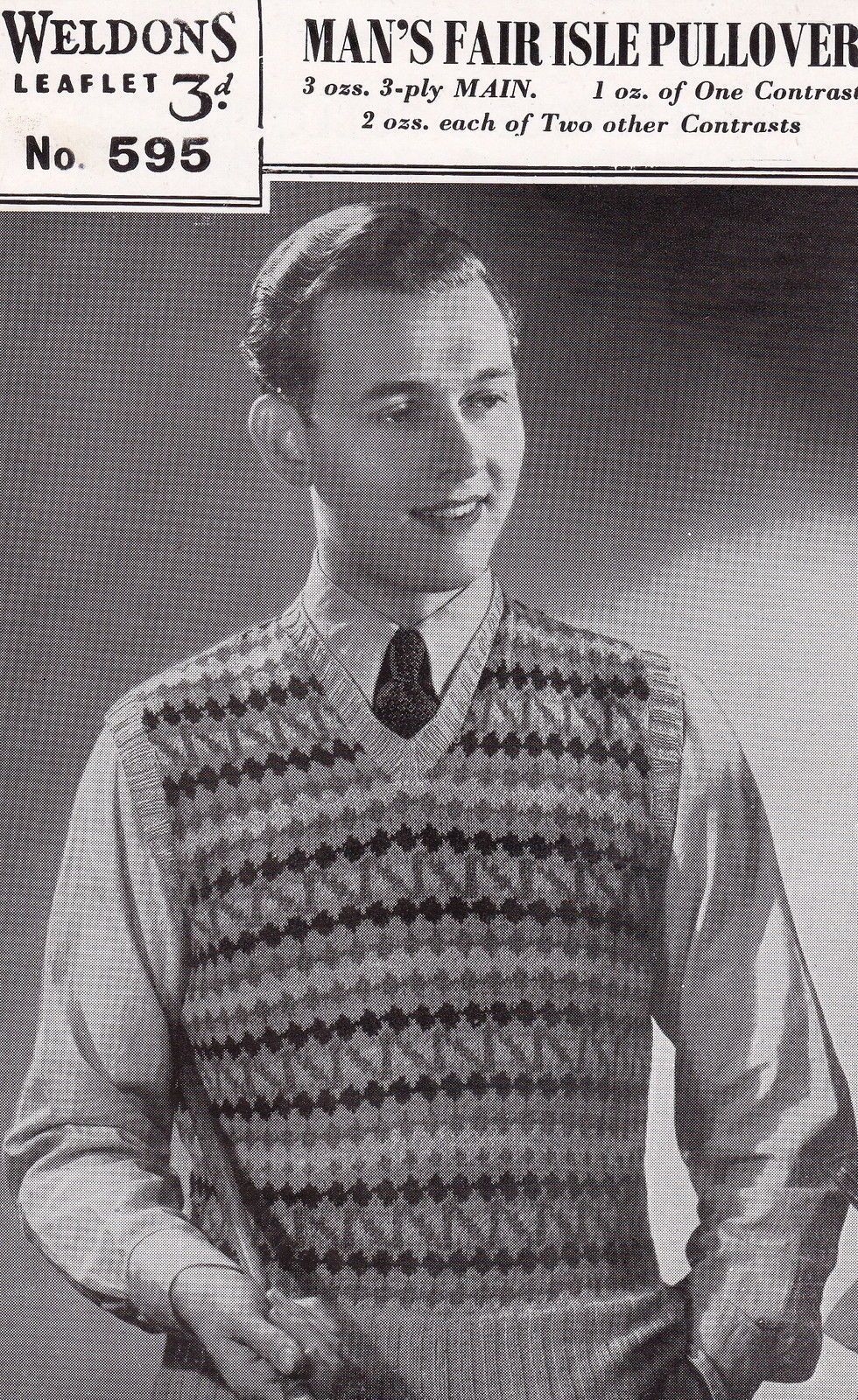 Vintage 1940's Knitting Pattern Man's Fair Isle Sleeveless ...