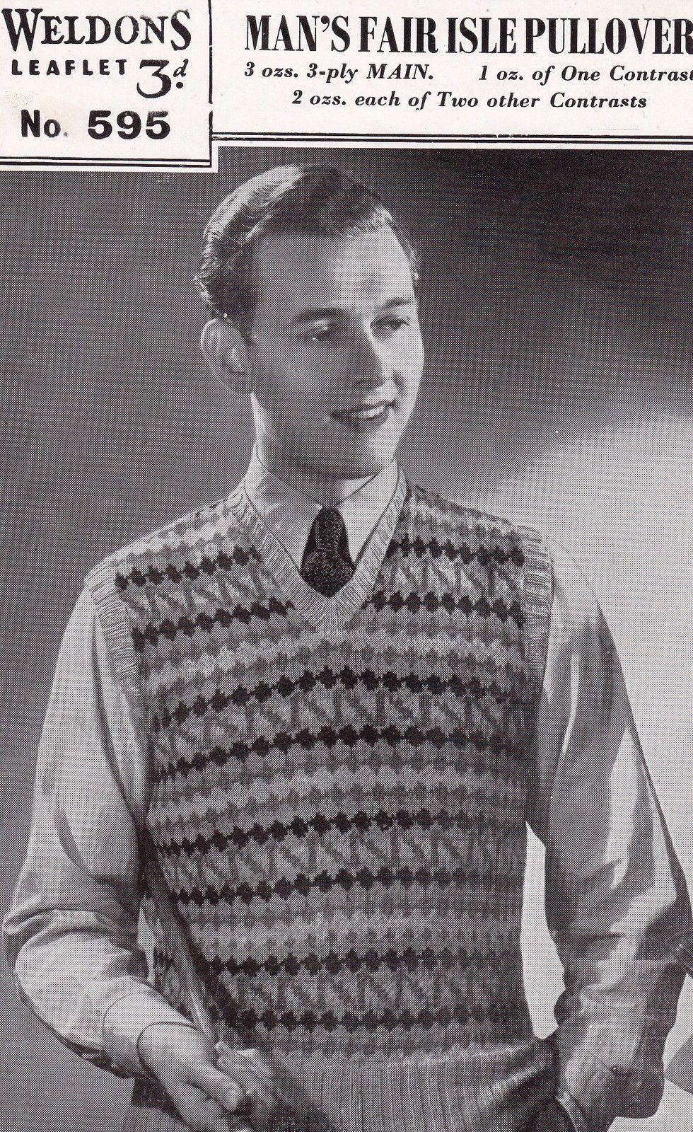Vintage 1940's Knitting Pattern Man's Fair Isle Sleeveless ...