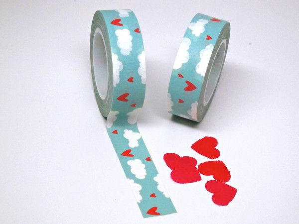 Heart in the Clouds Washi Tape. Fun for craft projects or scrap books! #scrapbooking #crafts #washi #washitape #tape #clouds #hearts #partysupplies #diy