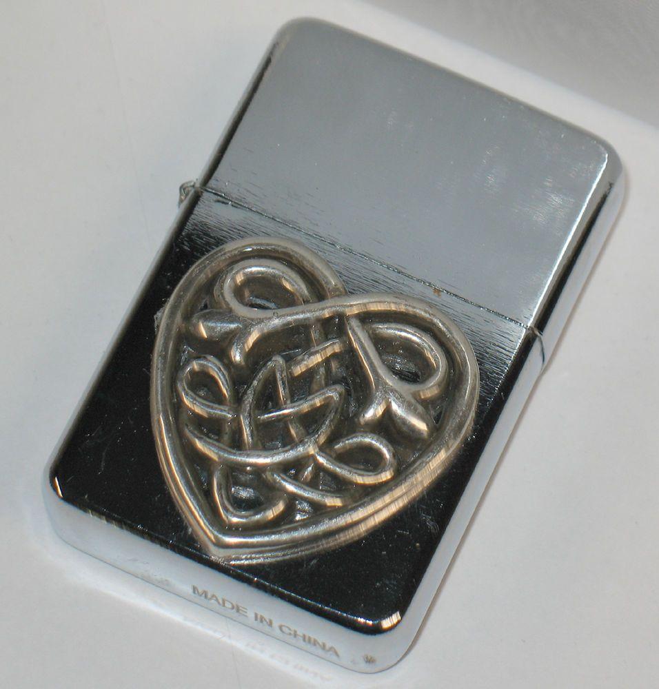 Celtic Heart Brushed Chrome Soft Flame Lighter Flint Spark Fluid
