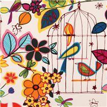 cream animal fabric 'Las Palomas En Colores' with birds, bird cages and flowers