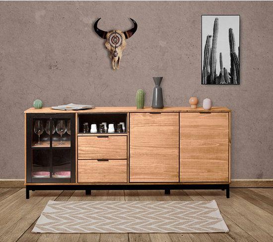 Buffet 3P2T style atelier BRONX Bois massif et noir Buffet and Salons