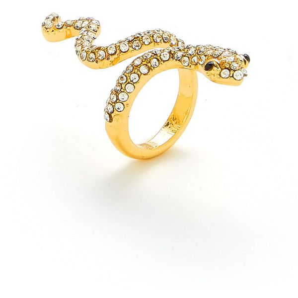 0cba93dd34 SheIn(sheinside) Rhinestone Snake Design Ring ($5) ❤ liked on Polyvore  featuring jewelry, rings, gold, rhinestone jewelry, anaconda jewelry, ...