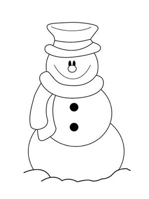 Simple Snowman Coloring Pages Printable Christmas Coloring Page